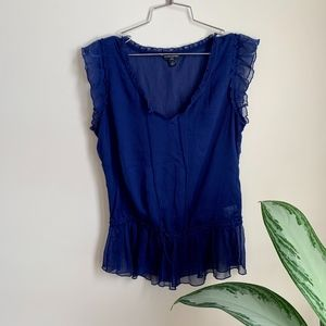 Banana Republic Sheer Navy Tank Top w Frill sz SP